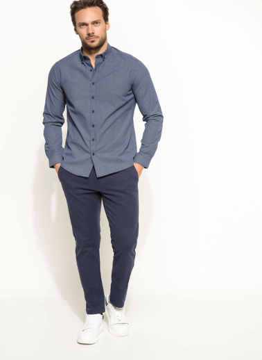 DeFacto Modern Fit Dirsek Detaylı Gömlek Mavi